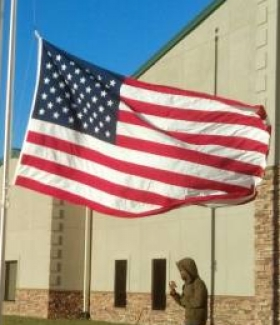 First time raising the flag in Riner Virginia